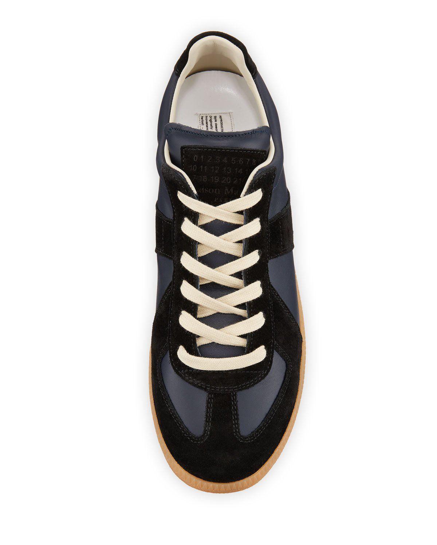 b84aaee8e5f Maison Margiela Men's Replica Suede & Leather Low-Top Sneakers ...