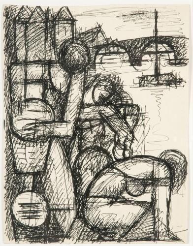 Marcel Gromaire - LES LAVANDIERES; Medium: china ink on paper; Dimensions: h: 27 w: 21 cm