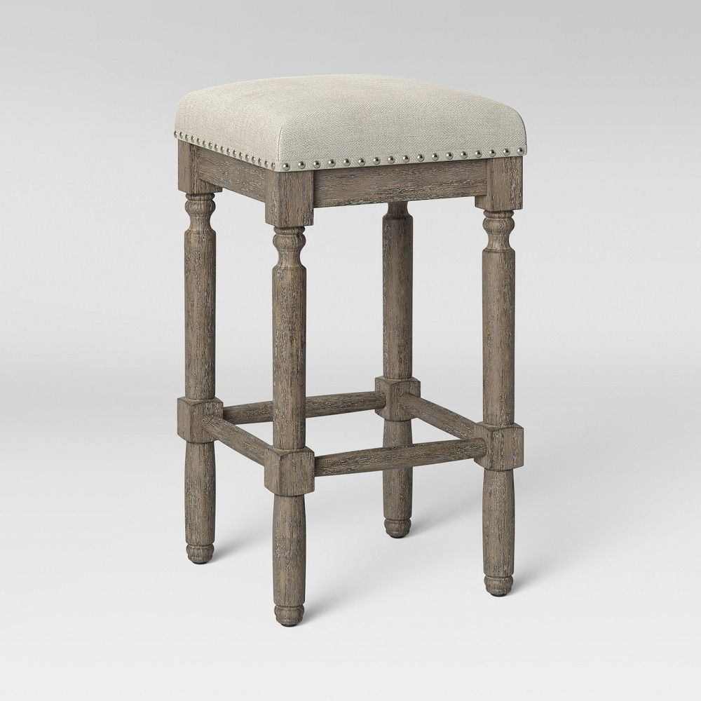 Outstanding Erving Wood And Upholstered Backless Counter Stool Taupe Ibusinesslaw Wood Chair Design Ideas Ibusinesslaworg