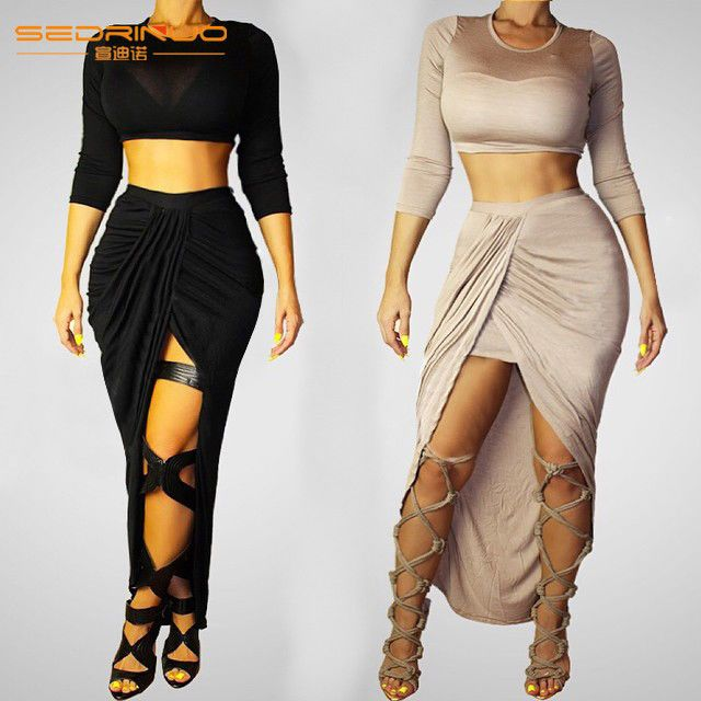 dce0d88828b Women Sexy Black Beige Bodycon Bandage Party Evening Club Halter 2 Piece  Dress  NEW
