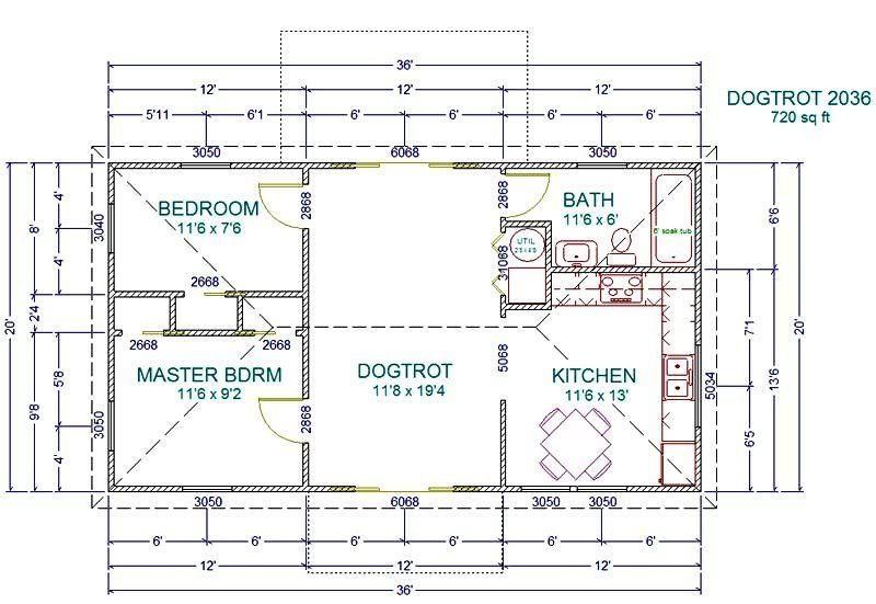 Bunkhouse floor plans with living area or more as for Dogtrot house floor plan