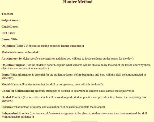 Madeline Hunter Lesson Plan Template-1 ESL Pinterest Lesson