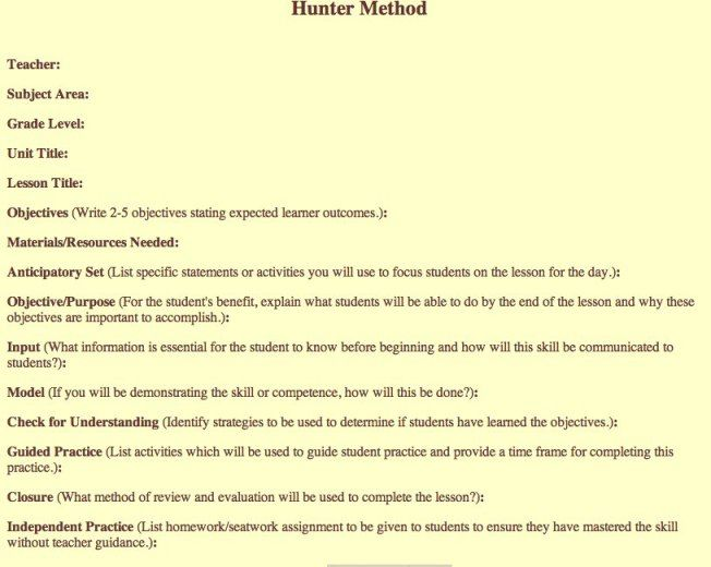 Madeline Hunter Lesson Plan Template-1 ESL Pinterest Lesson - sample madeline hunter lesson plan template