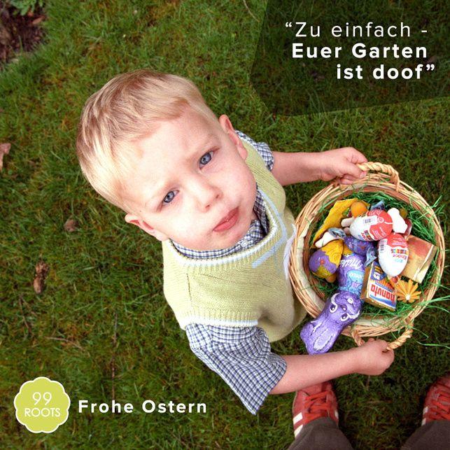 Wir wünschen euch allen frohe Ostern. Bepflanzt euren Garten ordentlich, damit man auch Spass beim Suchen hat.