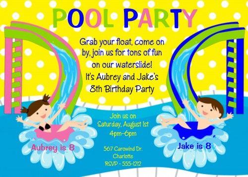 Pool Party Birthday Invitation Cards  Alex    Birthdays