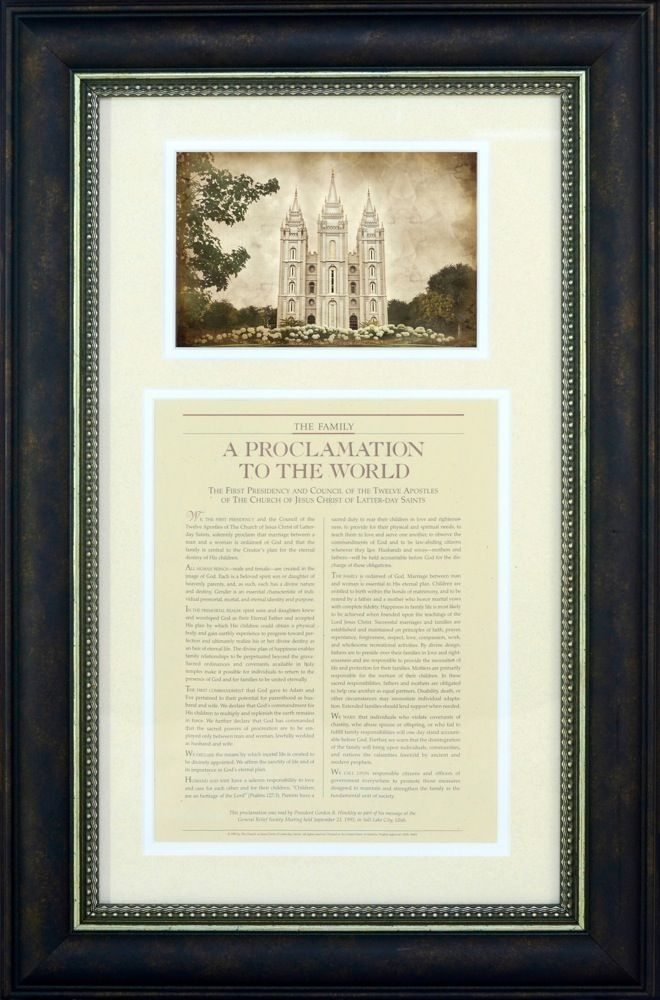 The Family: A Proclamation To The World, Framed with Temple | Art ...