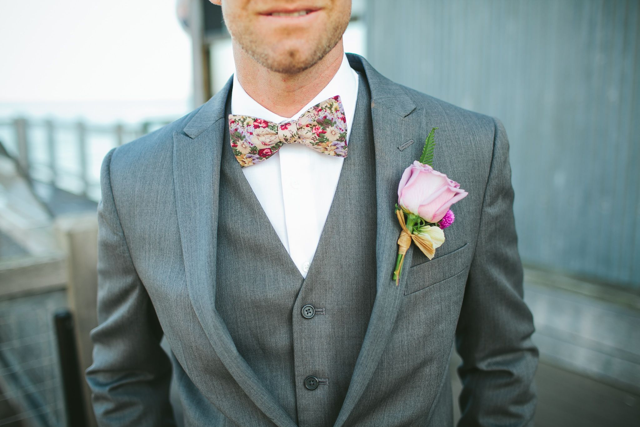 Floral Bow Tie with Gray 3-piece suit | Flower Power | Pinterest ...
