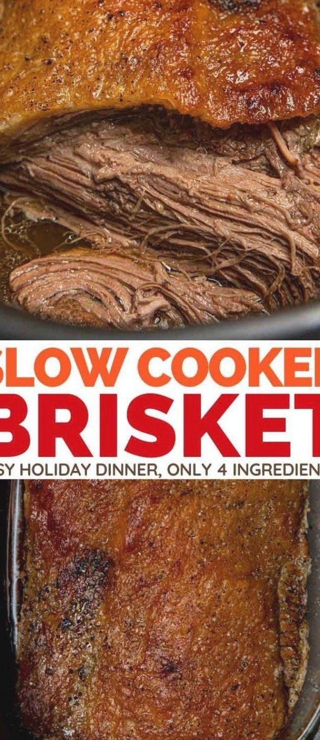 Slow Cooker Beef Brisket is an easy holiday dinner with only 4 ingredients   Comes out fork tender and delicious  includes our recipe for homemade BBQ sauce  #slowcookerbrisket #crockpotbrisket #brisket #holidaydinner #christmasdinner #dinnerthendessert