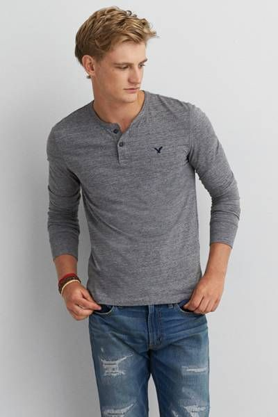 AEO Legend Long Sleeve Henley by AEO | Expertly constructed. Timelessly legendary. Forged to weather life's epic journeys. Shop the AEO Legend Long Sleeve Henley and check out more at AE.com.