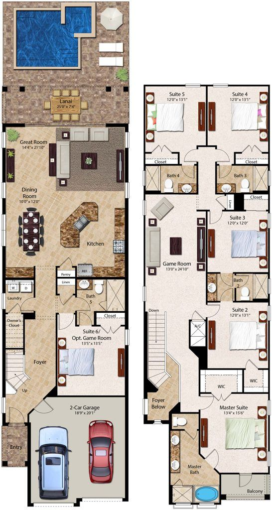 6 Bedroom Homes Ranging From 2 828 To 3 232 Square Feet The Two Story 6 Bedroom Residences Feature A F House Layout Plans Pool House Plans Narrow House Plans