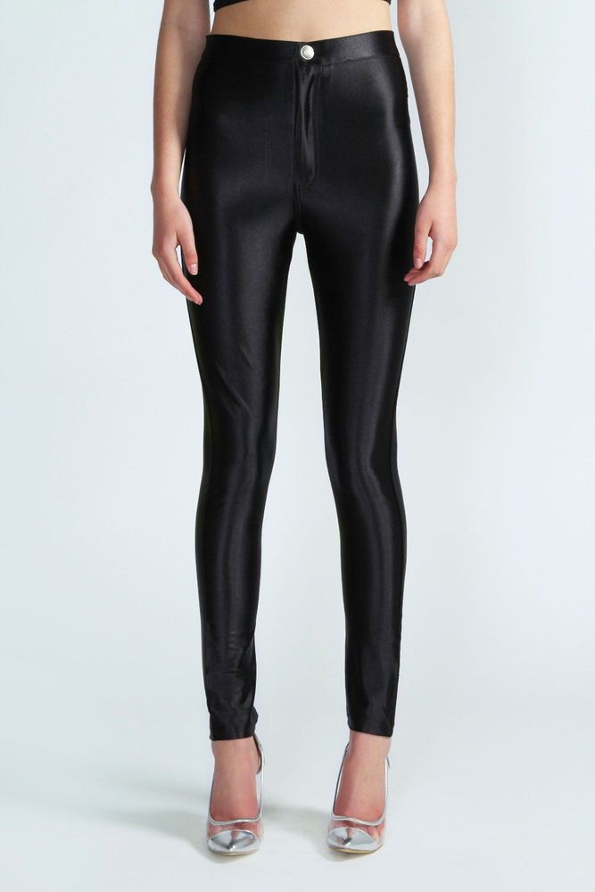 c599475ceed7 MISS SELFRIDGE NEW BLACK STRETCHY HIGH WAISTED SHINY LEGGINGS TROUSERS UK  4-12