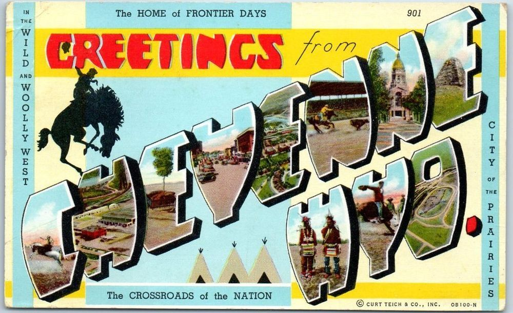 CHEYENNE Wyoming Large Letter Postcard -  c1940s