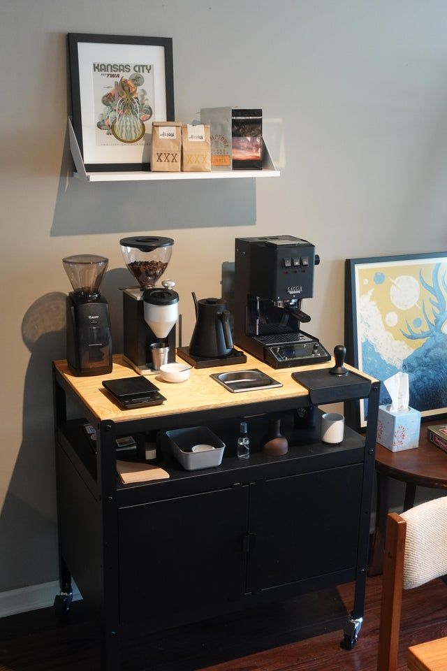 Finally got my coffee station dialed in at the new apartment. First time showing off the tung oil finished surface and integrated Knock Box to all you fine espresso folk. *pun intended