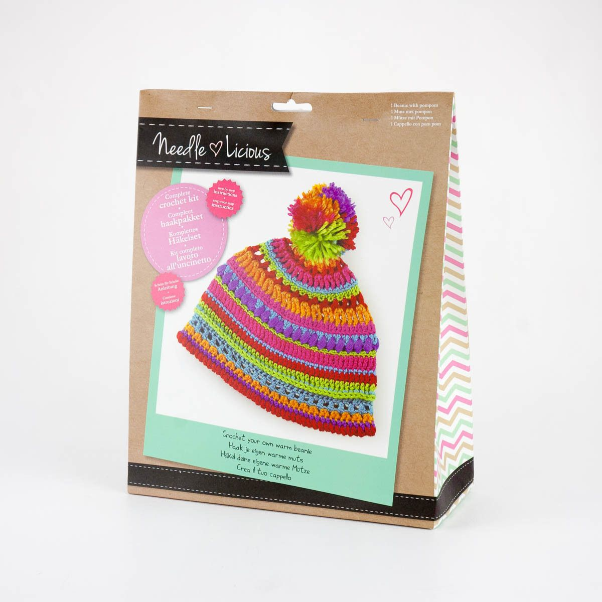 Crochet your own warm beanie with this complete kit and step-by-step  instructions 089d5032f74