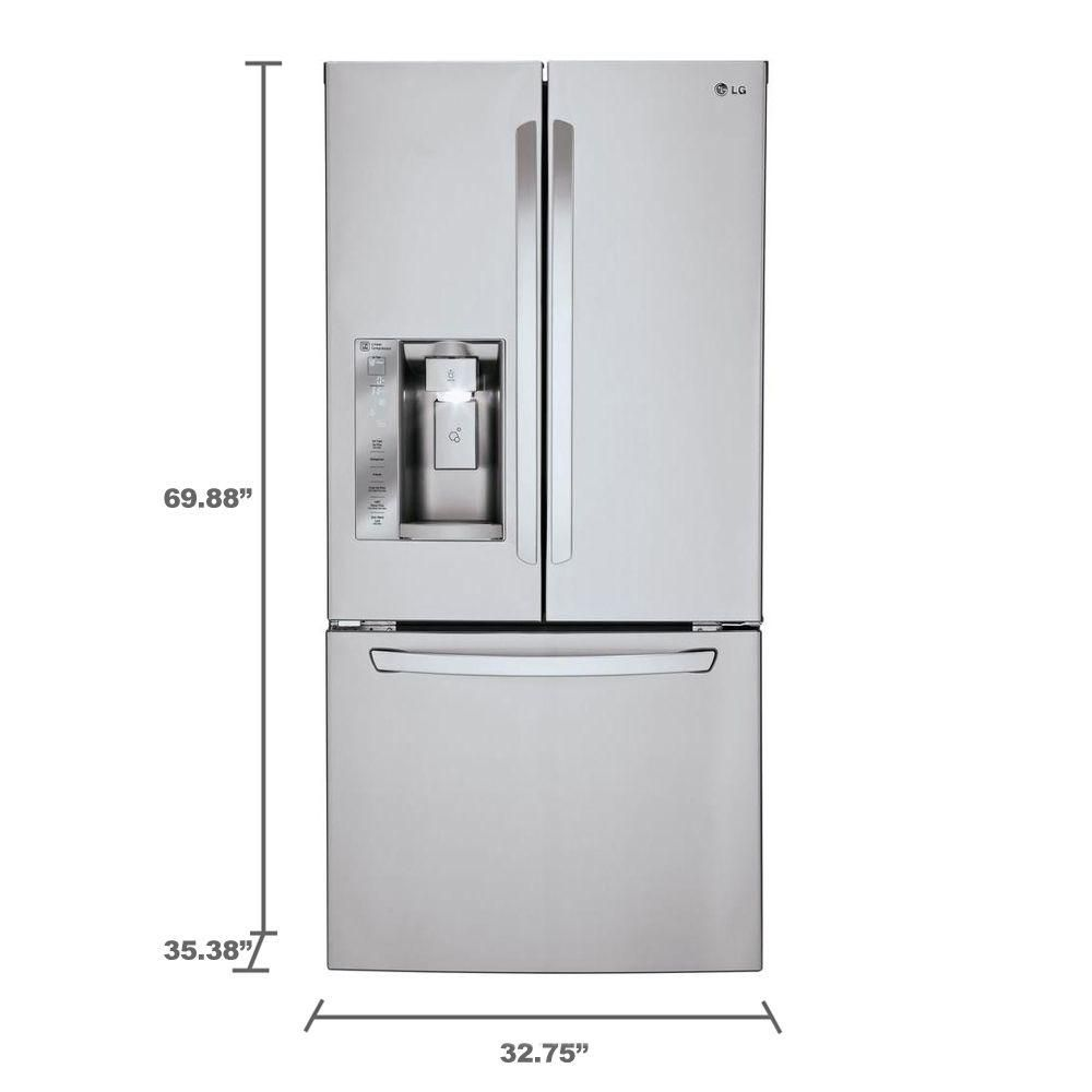 Lg Electronics 33 In W 242 Cu Ft French Door Refrigerator In