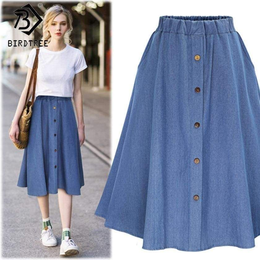 Denim Women Solid Color Long Skirt #casualskirts