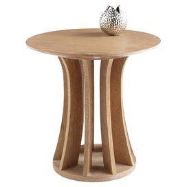 Beau Round Oak End Table With A Driftwood Finish And Open Pedestal Base.  Product: End