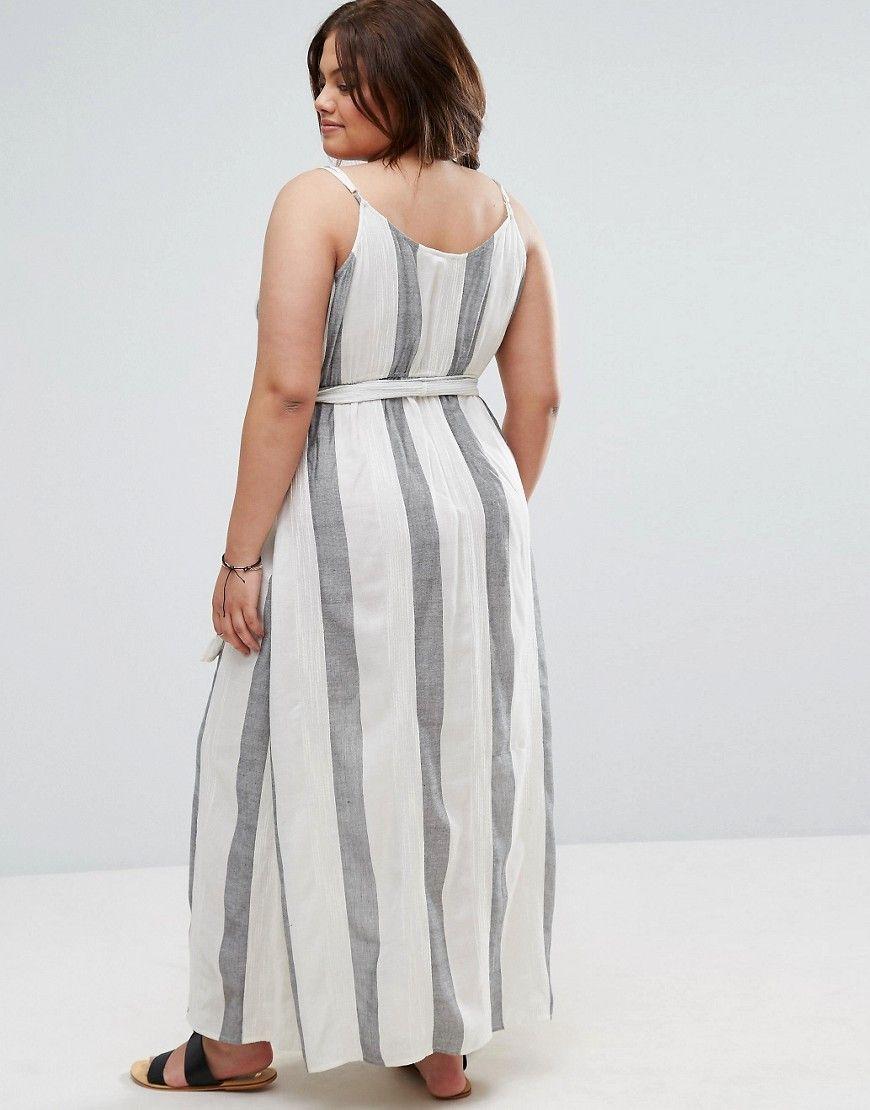 e61feb39d9 ASOS CURVE Maxi Beach Dress in Natural Fibre Stripe - Multi ...