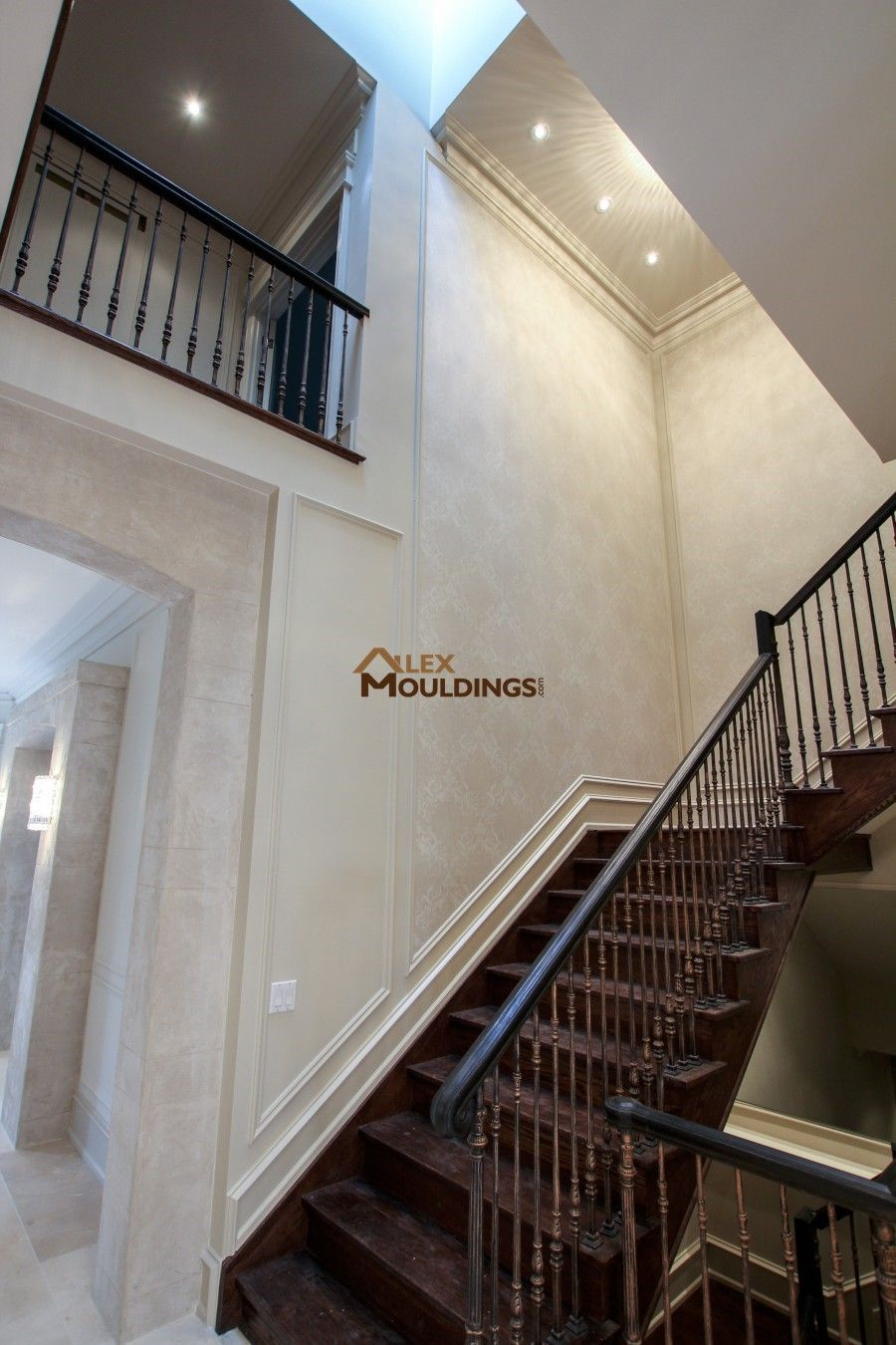 Trims on the stairway model home u thornhill pinterest crown