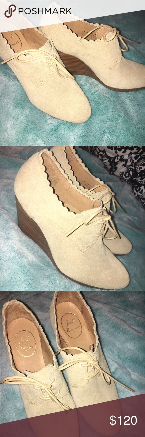 ac58e3b14ea Jack Rogers Olivia Wedge Bootie Suede Only worn 3x