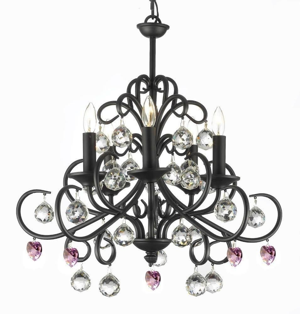 Bellora Crystal Wrought Iron Chandelier With Pink Crystal*Hearts ...