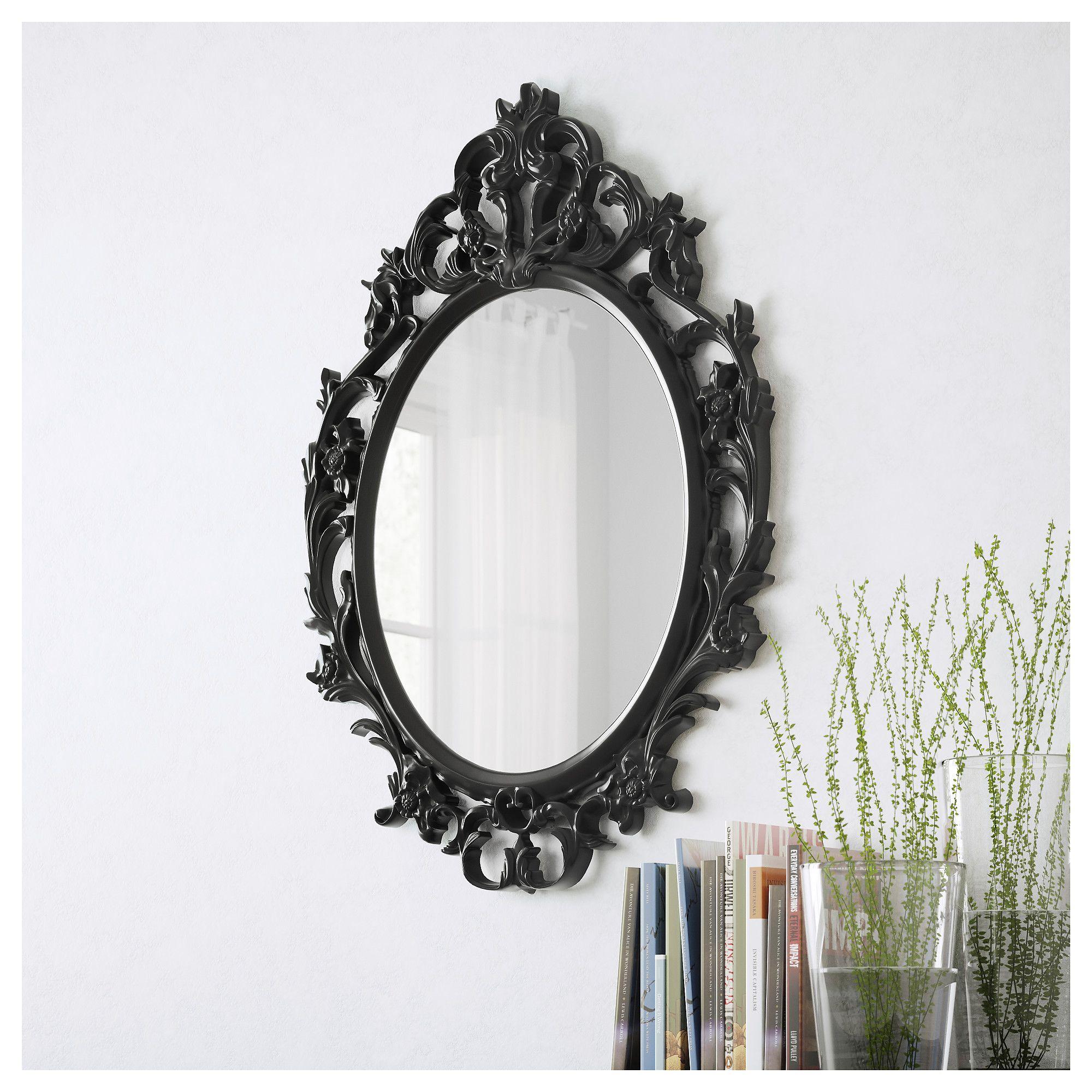 UNG DRILL Ogledalo ovalno crna