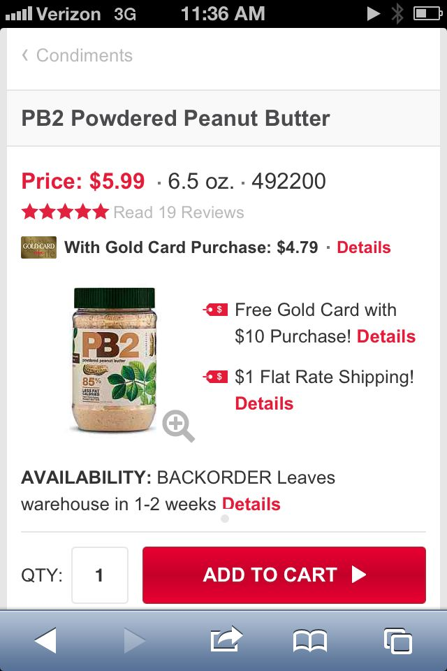 Peanut butter powder with no fat ; )