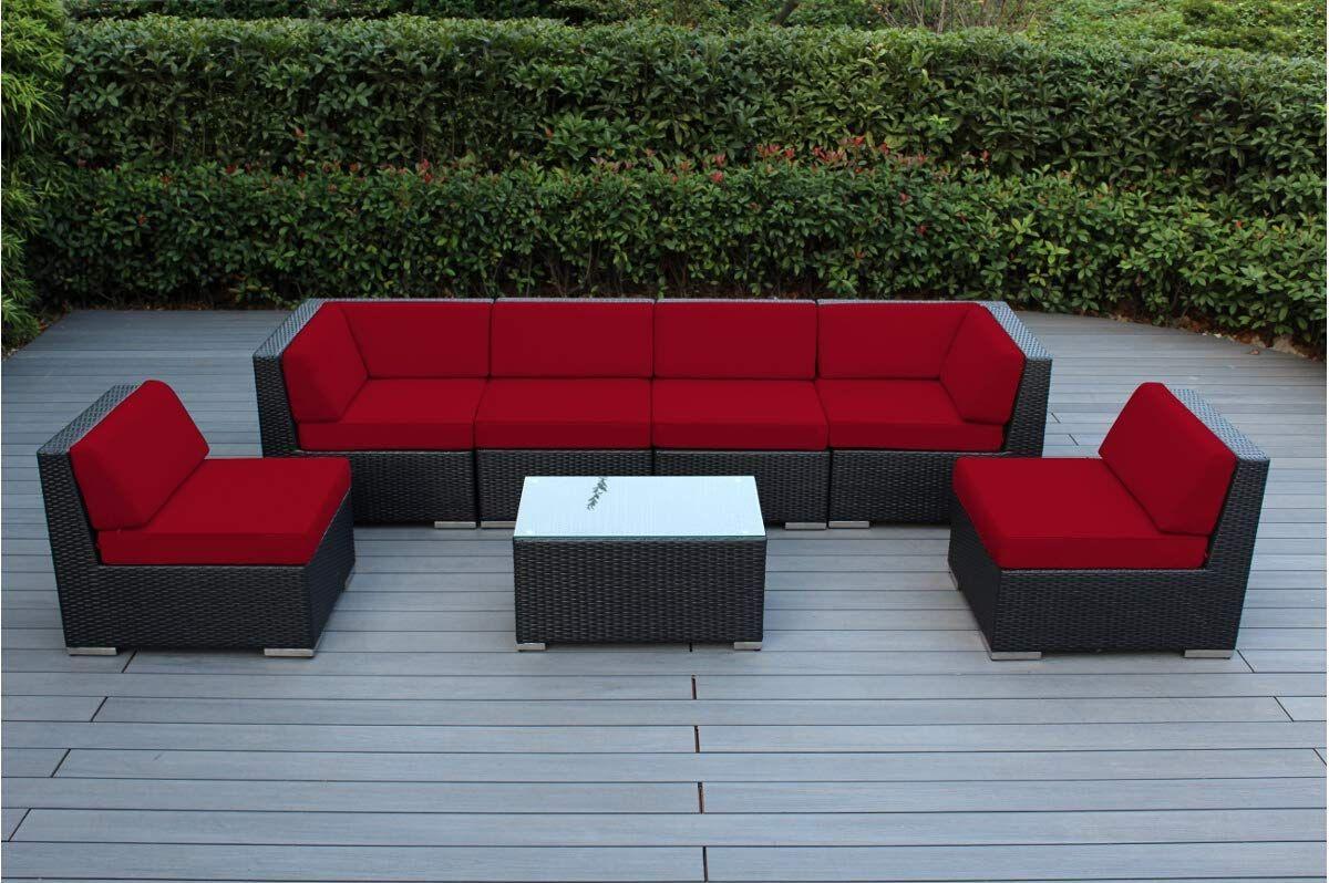 Outdoor Patio Furniture Sectional Conversation Set Black Wicker