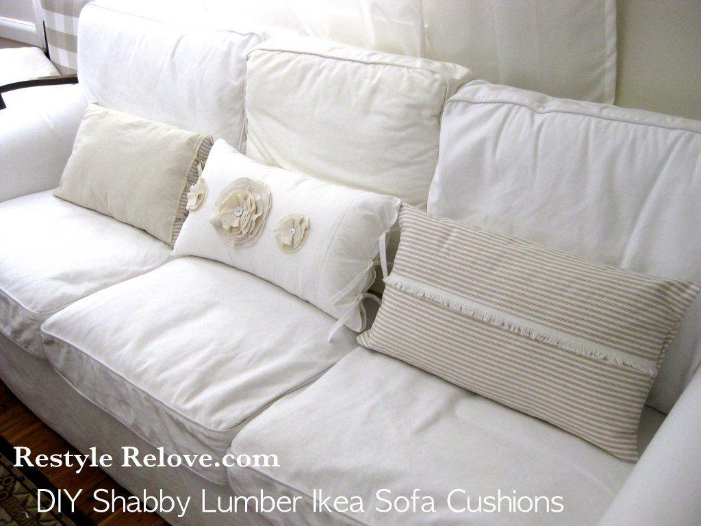 Diy Shabby Lumber Cushions For Ikea Ektorp Sofa In 2020 Shabby Chic Sofa Shabby Chic Chairs Shabby Chic Pillows