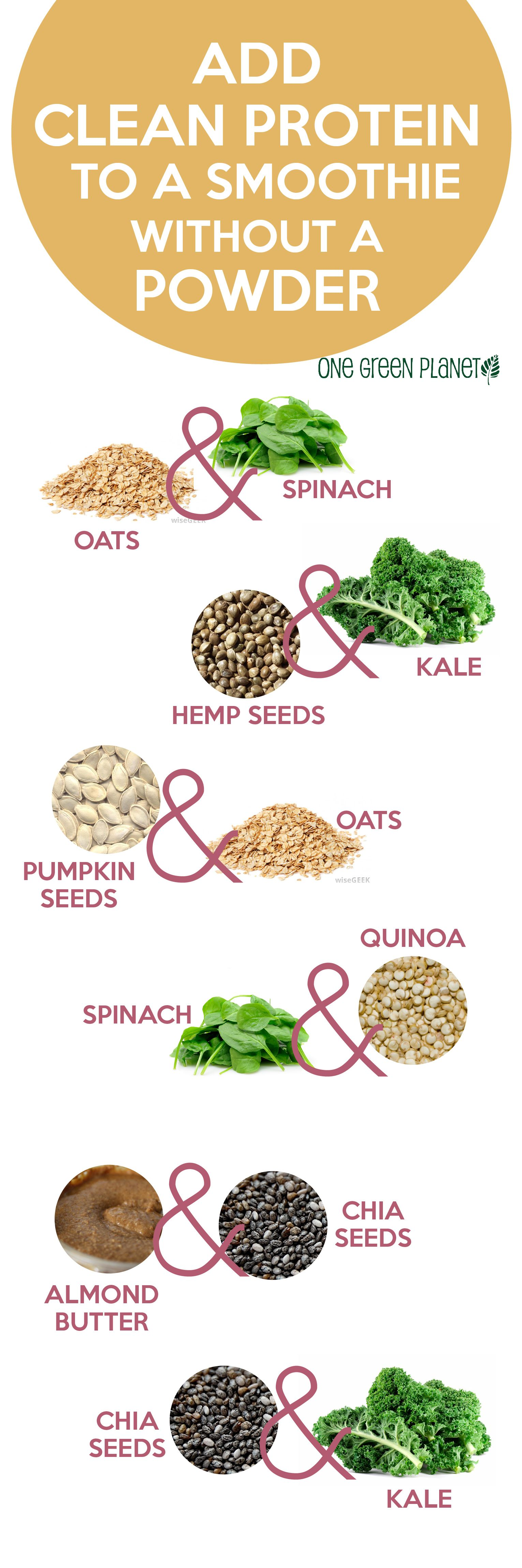 Add Clean Protein To Your Smoothie By Onegreenplanet Infographic Protein Smoothie Healthy Living Clean Protein Whole Food Recipes Healthy Smoothies