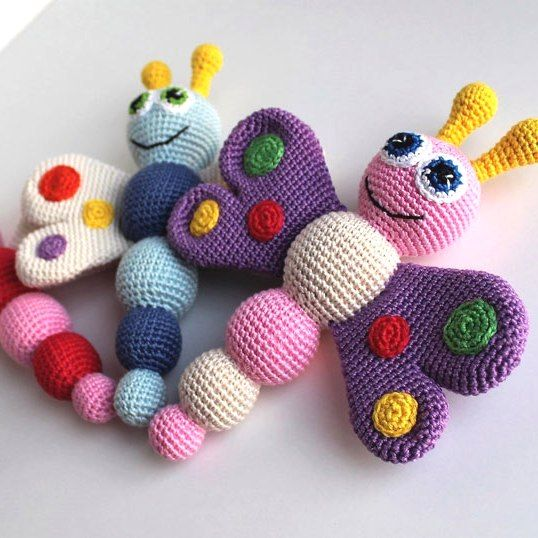 Crochet a cute amigurumi butterfly baby rattle for your lovely child ...
