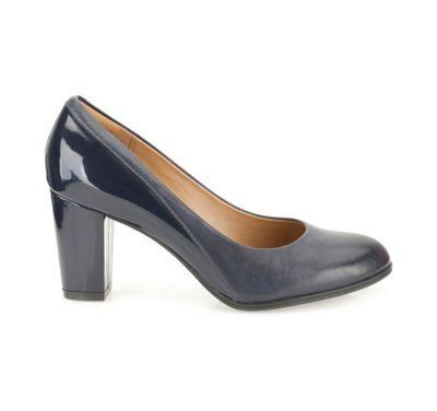 6434ab69c73 Clarks Navy leather Basil Auburn plain heeled court shoe- at ...