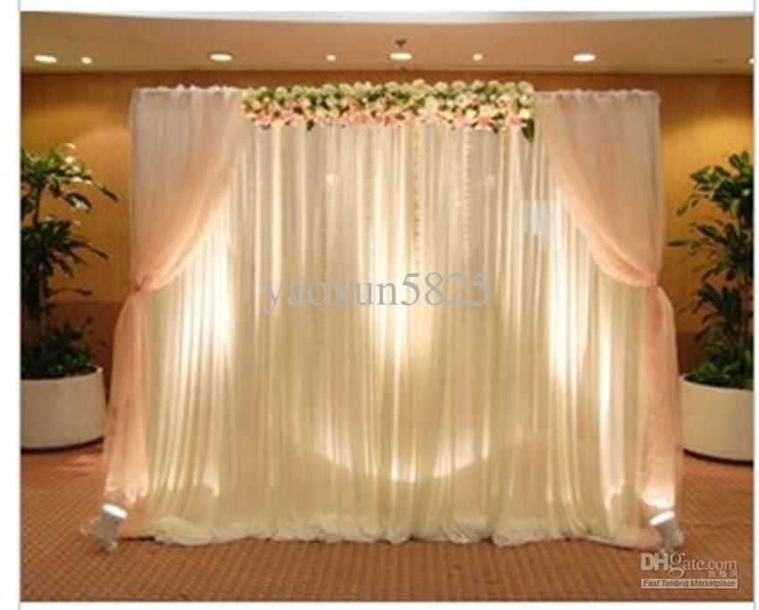 Hot sale white color wedding backdrop drape curtain for for Background decoration for wedding