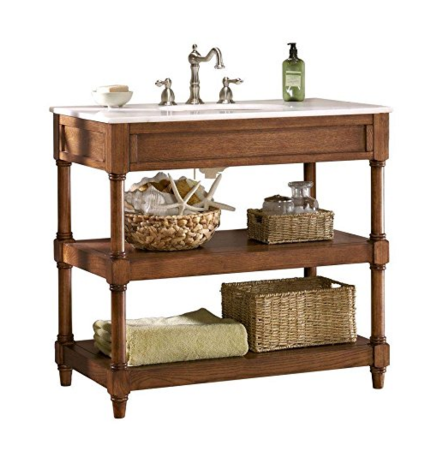 Rustic Bath Vanity Adds Charm And Storage With Open Shelving And