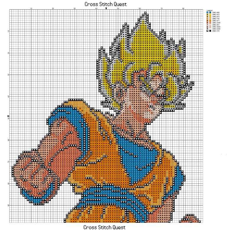 Free Super Saiyan Goku Cross Stitch Pattern Dragon Ball Z Cross Stitch Cross Stitch Patterns Cross Stitch Art