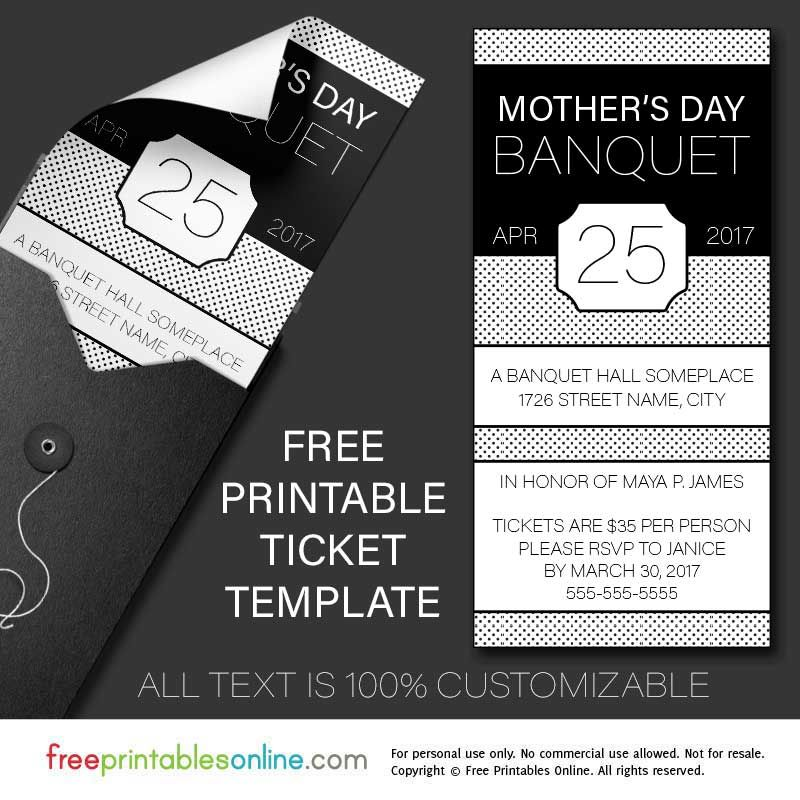 Free Printable Banquet Ticket Template invitation template