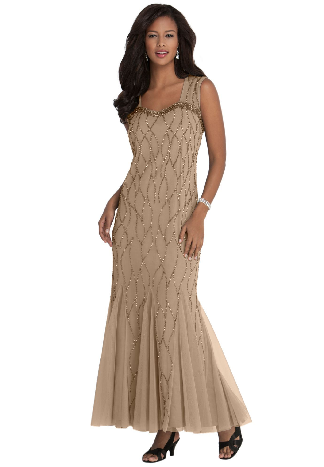 Look and feel glamorous in our beaded godet plus size dress aline