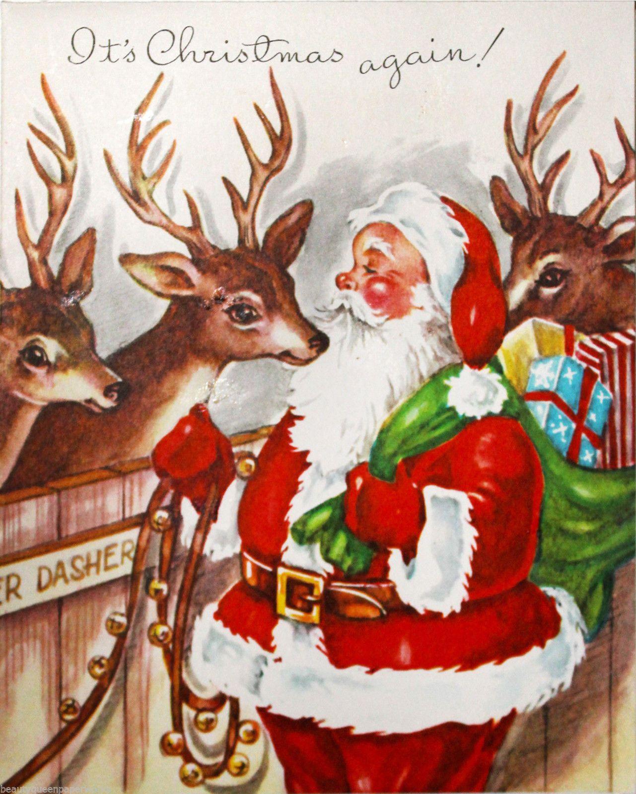 Us santa sack full toys visiting w reindeer dasher vintage