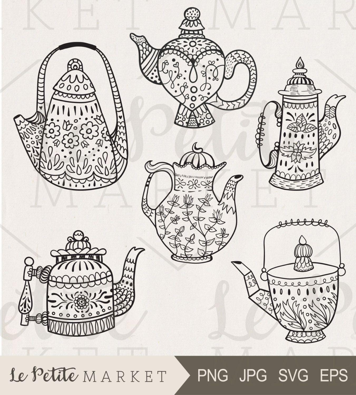 Hand Drawn Teakettle Clip Art, Tea Time Clipart, Tea