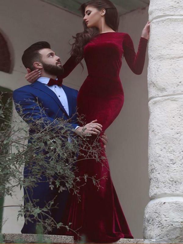 Red prom dress Mermaid Simple Long Sleeve Long Prom Dress Evening ...