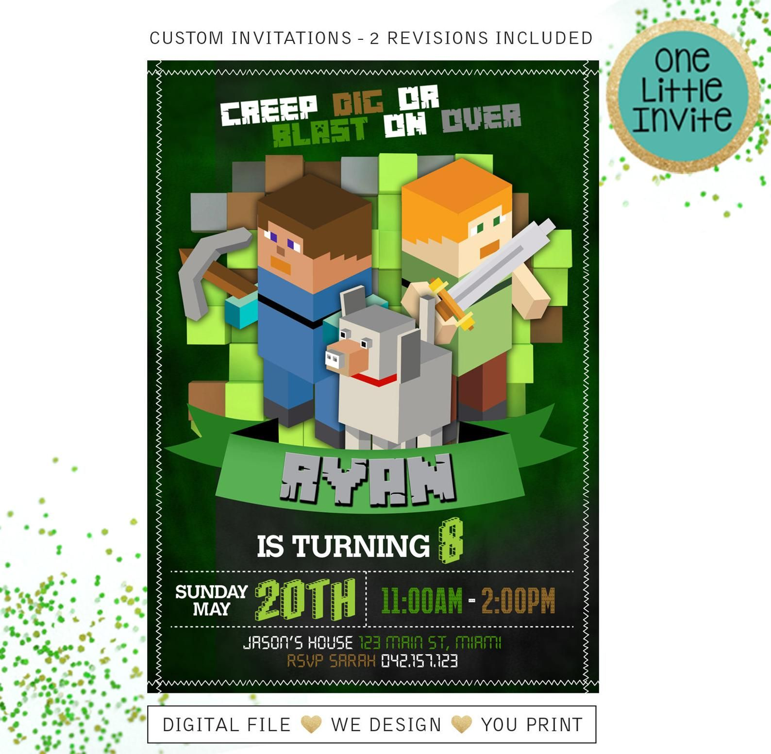 Mine theme birthday invitation pixel party printable