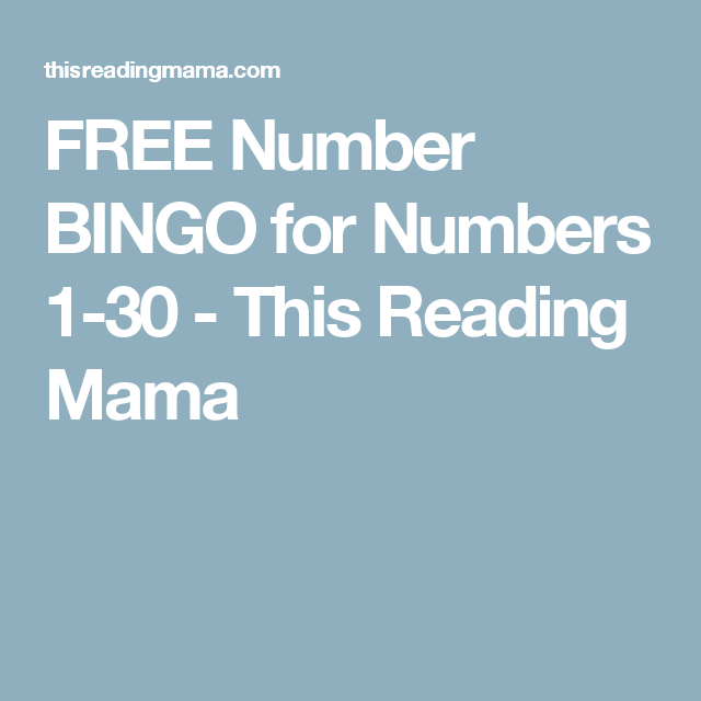 FREE Number BINGO for Numbers 1-30 | Number, Number recognition and ...