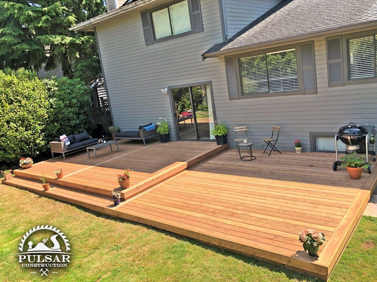 Split Level Patio Deck In 2020 Concrete Patio Building A Deck Deck Designs Backyard