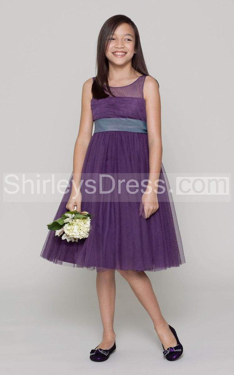 Sleeveless Knee Length Tulle Dress With Illusion Neckline and Empire ...