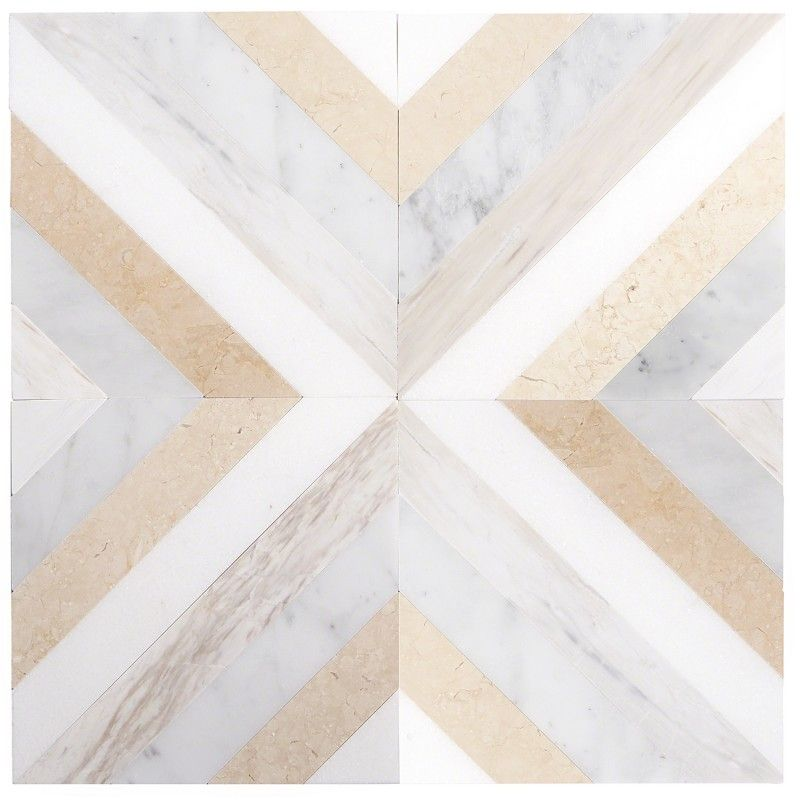 Bowery Lafenice 8x8 Polished Marble Mosaic Tile In 2020 Marble Mosaic Marble Bathroom Floor Mosaic