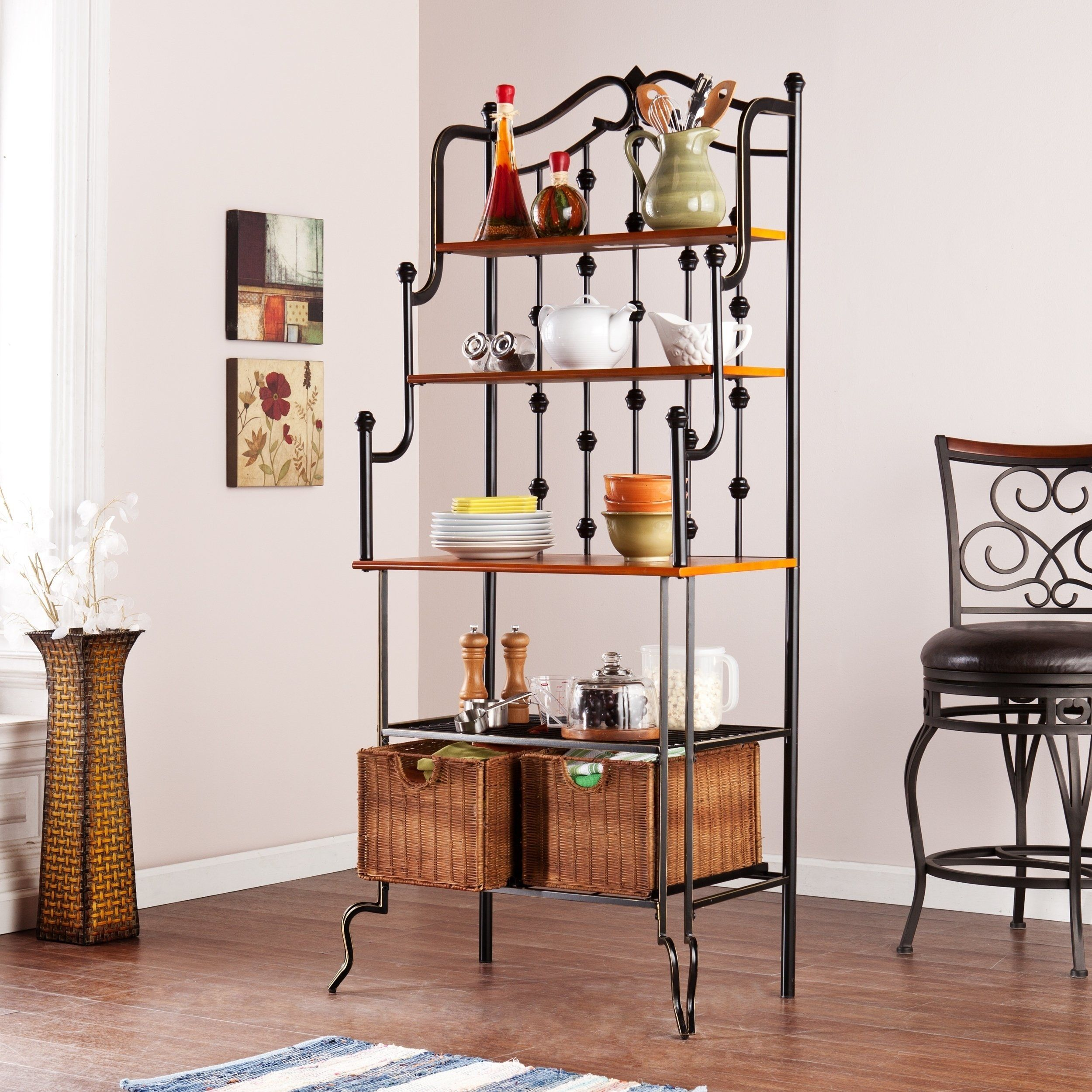 Elegant And Beautiful This Unique Black Frame Saint Pierre Baker S Rack From Sei Is A Blend Of Form And Function