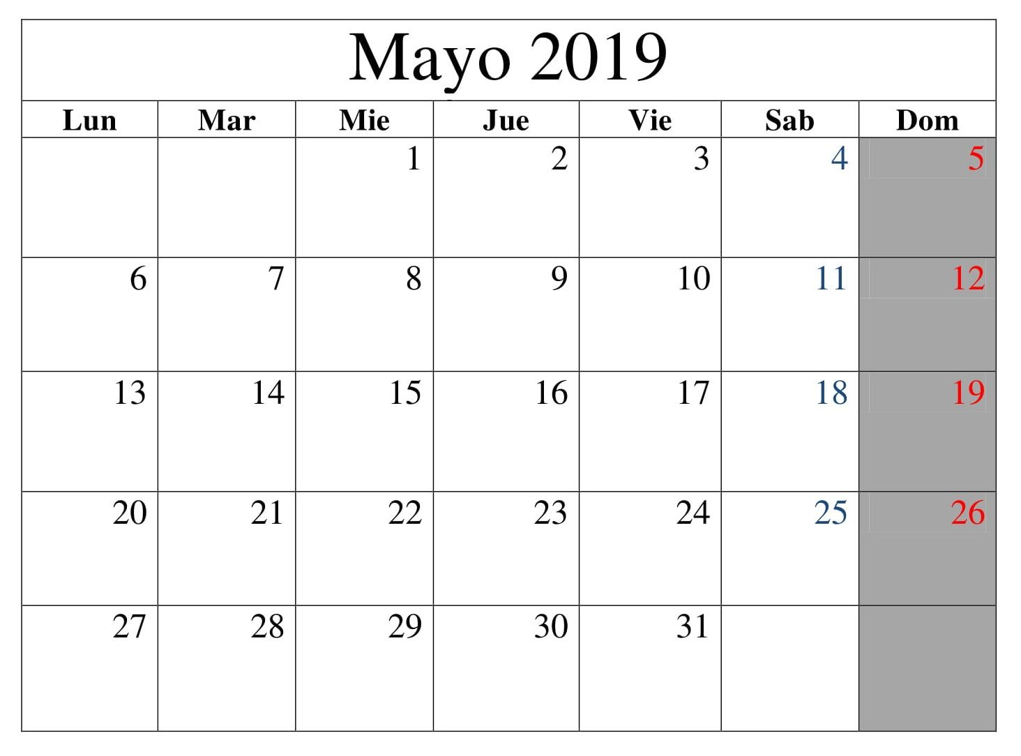 Calendario Grande.Mayo Calendario Grande 2019 Calendario Mayo 2019 Blank