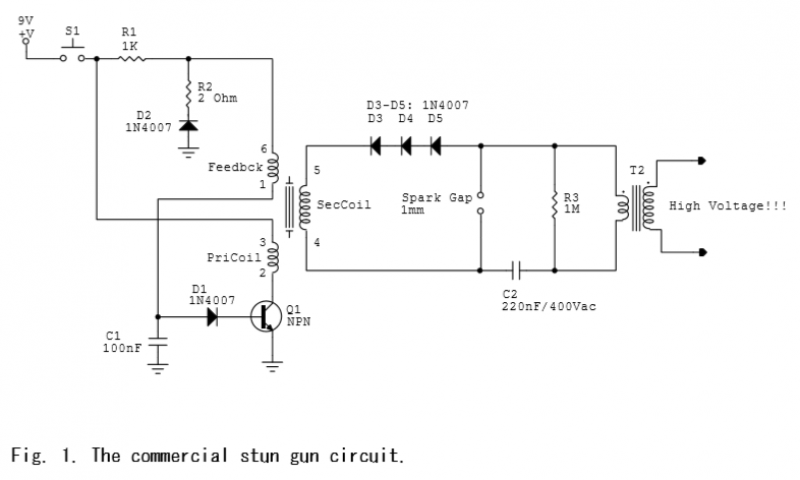 commercial stun gun circuit schematic energia pinterest rh pinterest com simple stun gun circuit diagram stun gun circuit diagram pdf