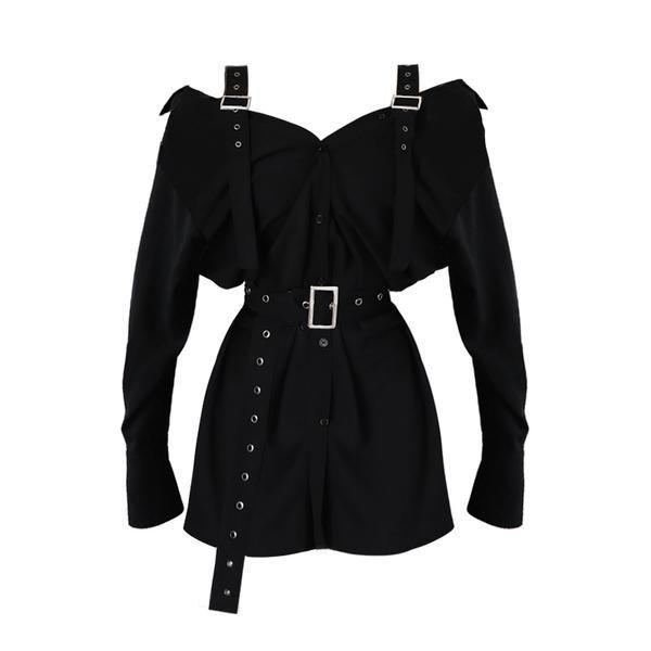 Gothic Harajuku Strapless dress with belt
