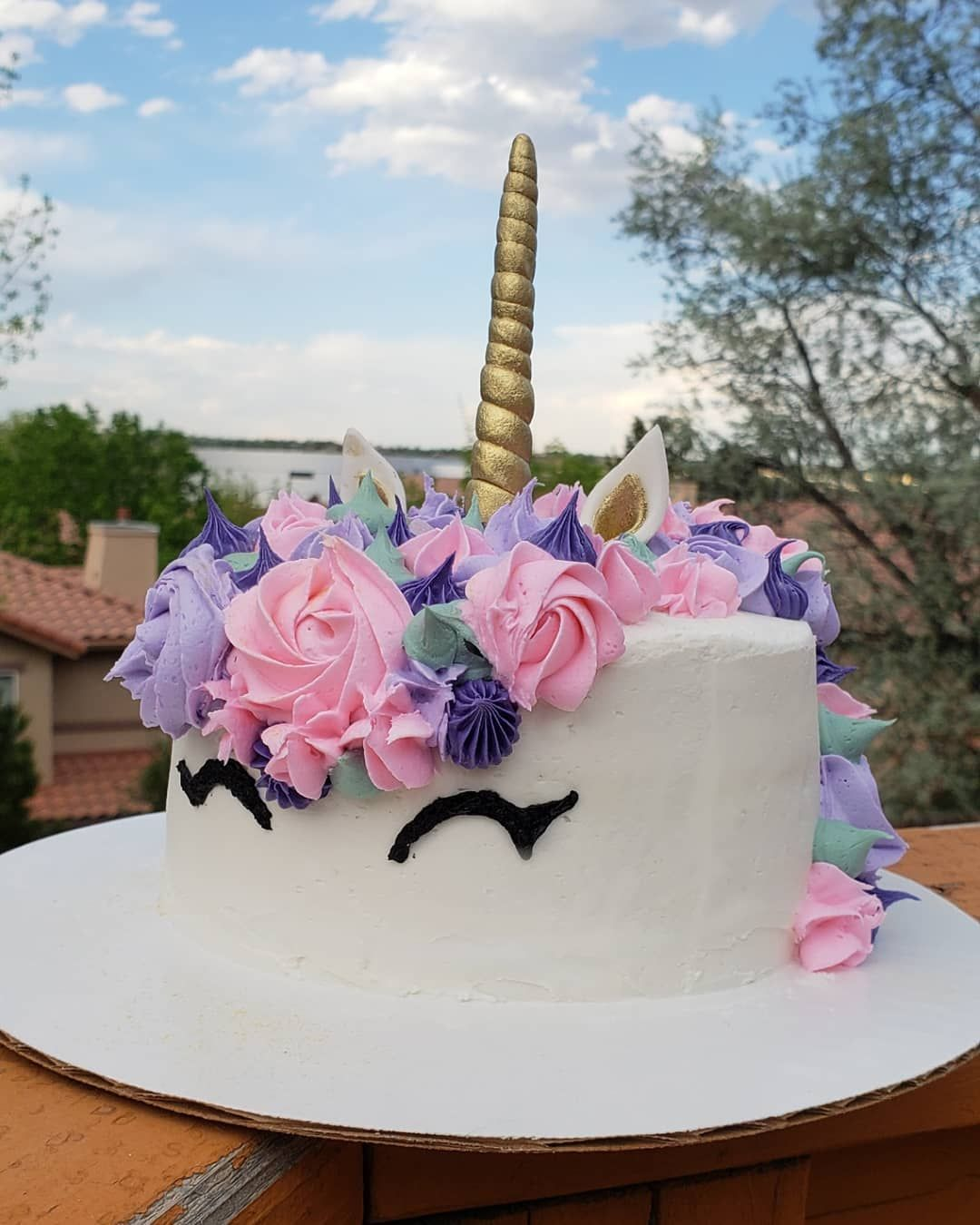 My first unicorn cake!! I made this little smash cake for
